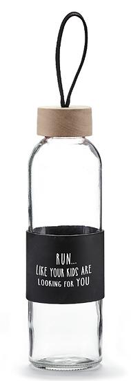 Run... Glass Water Bottle