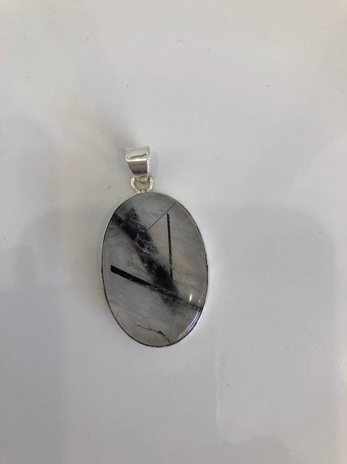 Pendentif argent en quartz tourmaline