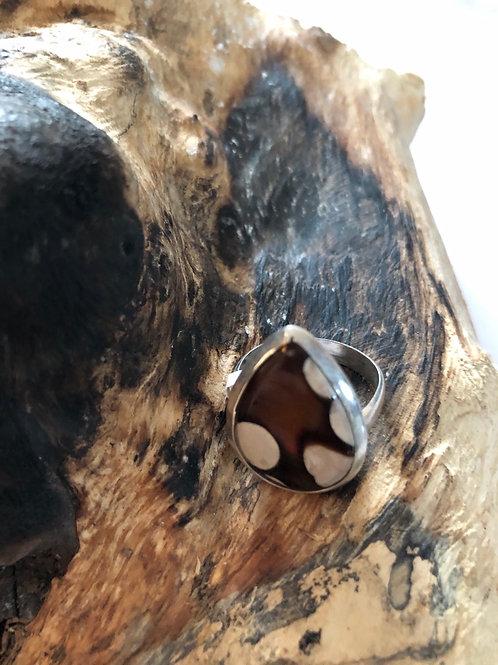 Bague argent en jaspe mokaite