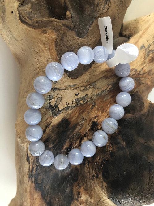Bracelet en Calcédoine bleu