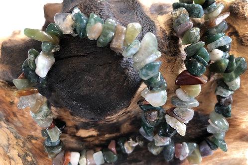 Bracelet baroque en agate mousse