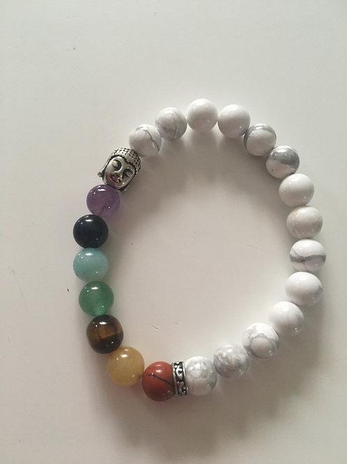 Bracelet howlite et 7 chakras
