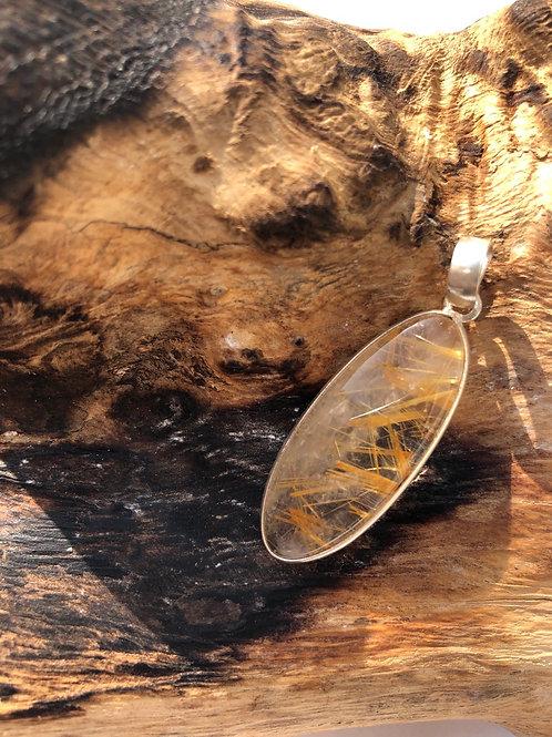 Pendentif argent en quartz rutile