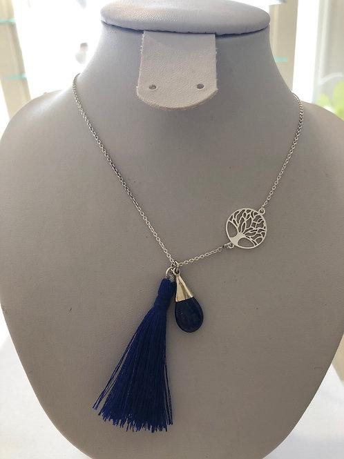 Collier argent en lapis-lazuli et arbre de vie