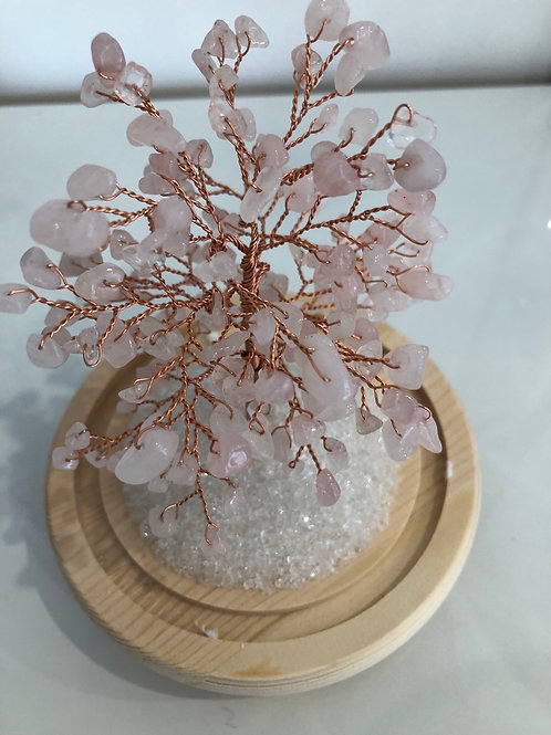 Arbre du bonheur en quartz rose