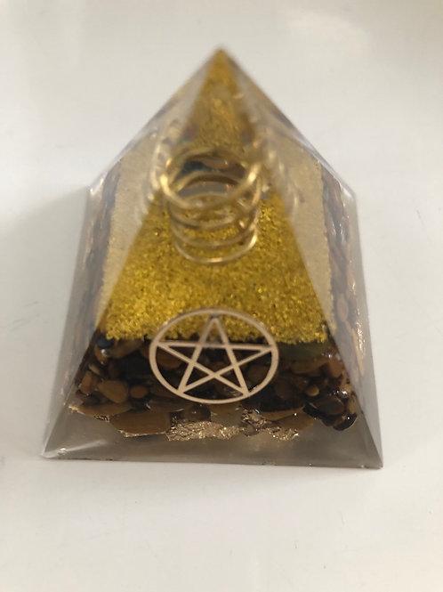 Mini pyramide en orgonite et Oeil de tigre