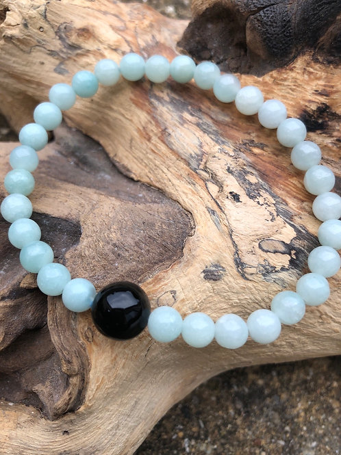 Bracelet on Amazonite et onyx noir
