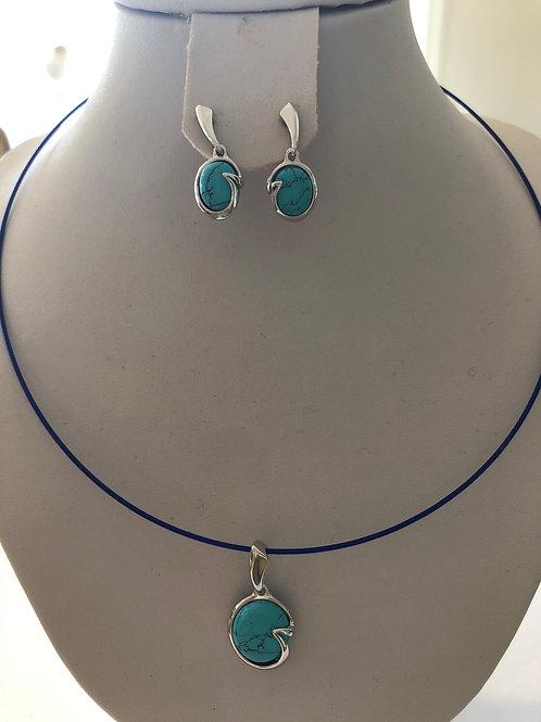 Paire de b.d'oreilles turquoise et pendentif en turquoise