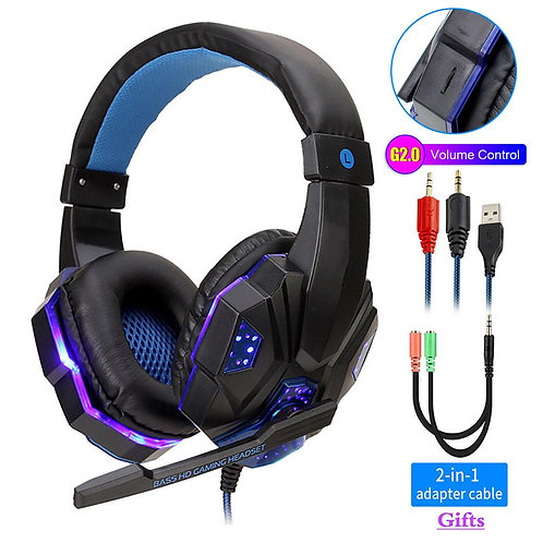 Professional Computer  Gaming Headphones Bass Stereo PC Wired Headset With Mic