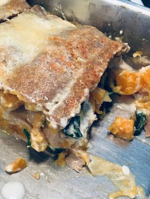 Lasagnes de sarrasin, courge, épinard et ricotta