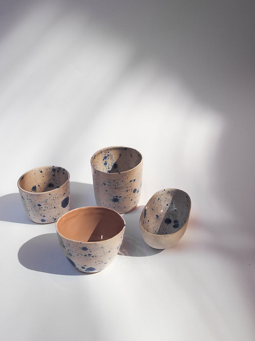 Blue Speckled Stoneware Cup