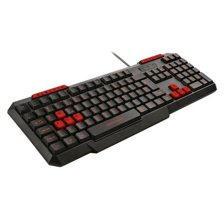 GRID SHOP Teclado Gamer Multilaser Com Hotkeys Multimídia Slim Preto/Vermelho -