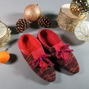 """""""Fruity Fall """" felted slippers"""