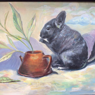 """Cinchilla Likes Tea"" acrylic on canvas"