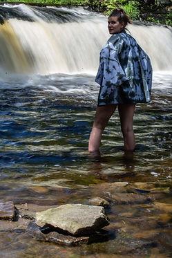 Kimono at waterfall