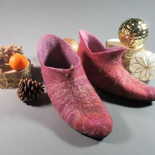 """""""Blueberry Jam"""" felted slippers"""