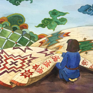 """""""Quilting Girl"""" watercolor"""