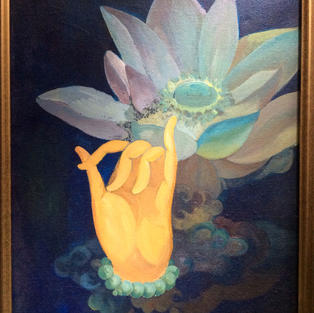 """""""Prayer Beads and a Lotus"""" acrylic on canvas"""