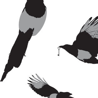"""""""Magpie and the Key"""" pattern design"""