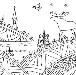 """""""Landscape with the Moose"""" coloring card"""