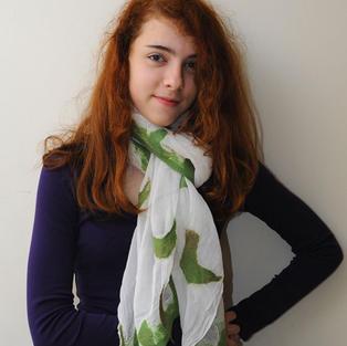 """Green Birds"" scarf"