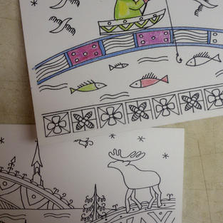 Coloring postcards with animals