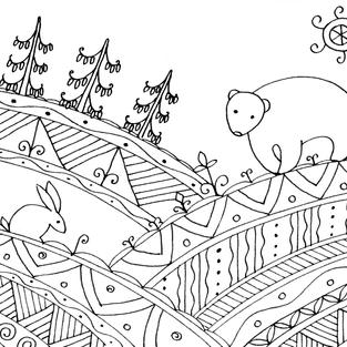 """""""A Bear and a Hare"""" coloring card"""