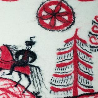 """Red Horseman"" wall hanging"
