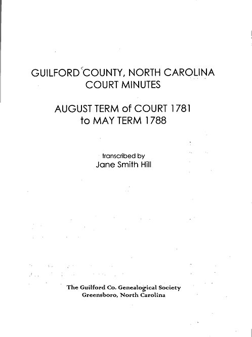Court Minutes, Guilford