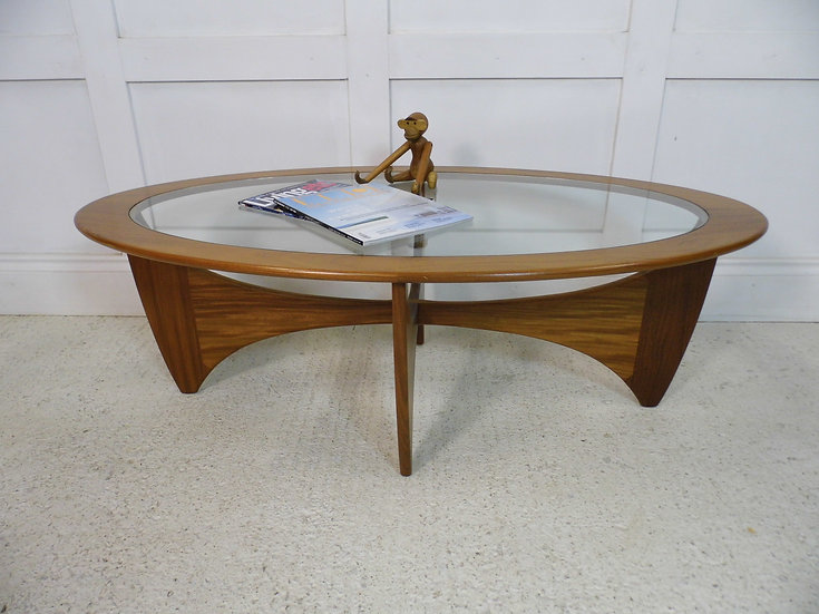 Vintage Retro GPlan Astro Oval Teak glass Coffee Table ...