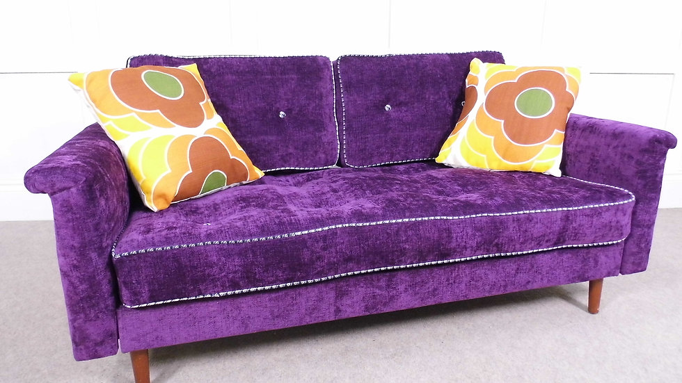 Vintage Retro Greaves & Thomas reupholstered sofabed  purple chenille 1960s