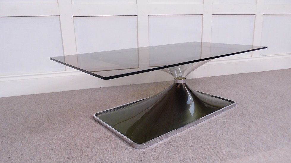 Vintage Mid century French smoked glass and chrome coffee table