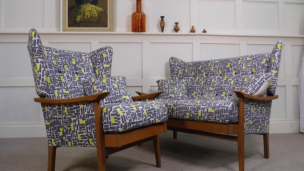 Vintage Retro Midcentury 1970s Wingback Sofa and armchair john lewis bricks