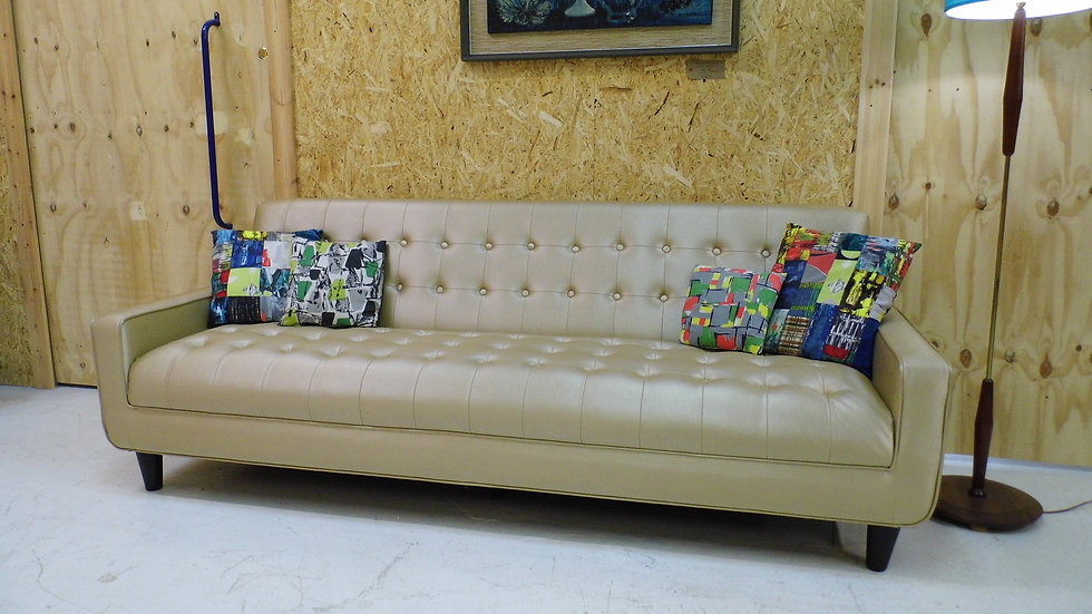Vintage retro :arge button backed Gold Leather 4 seater sofa