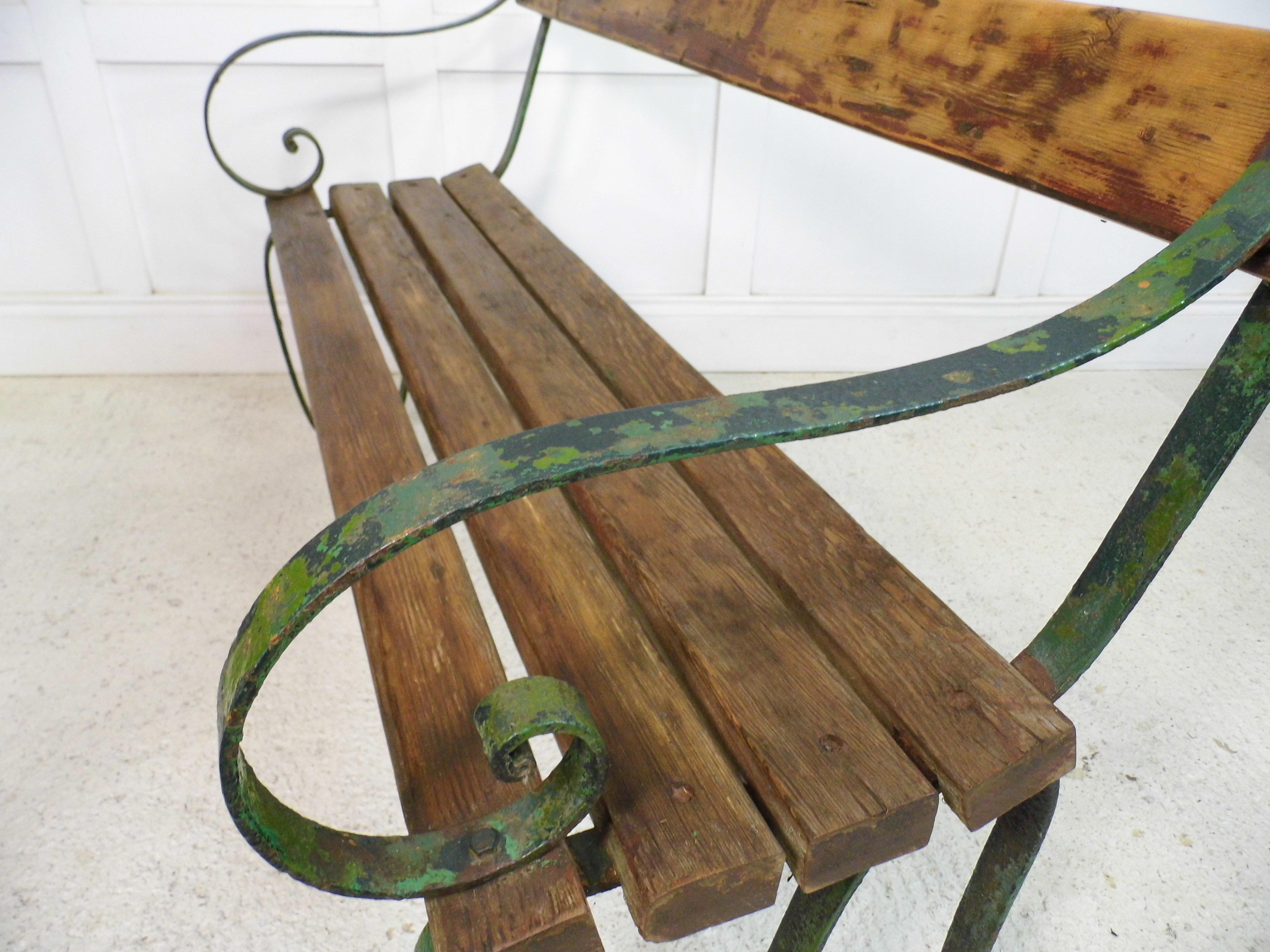 Antique Vintage Metal Park Bench Garden Design Blacksmith