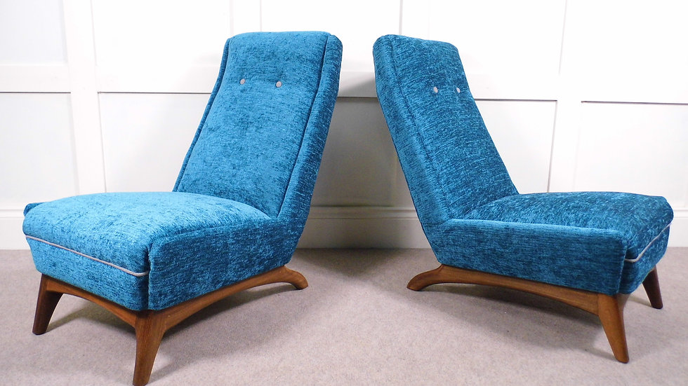 VintageRretro Greaves & Thomas reupholstered side chairs chenille blue Teak