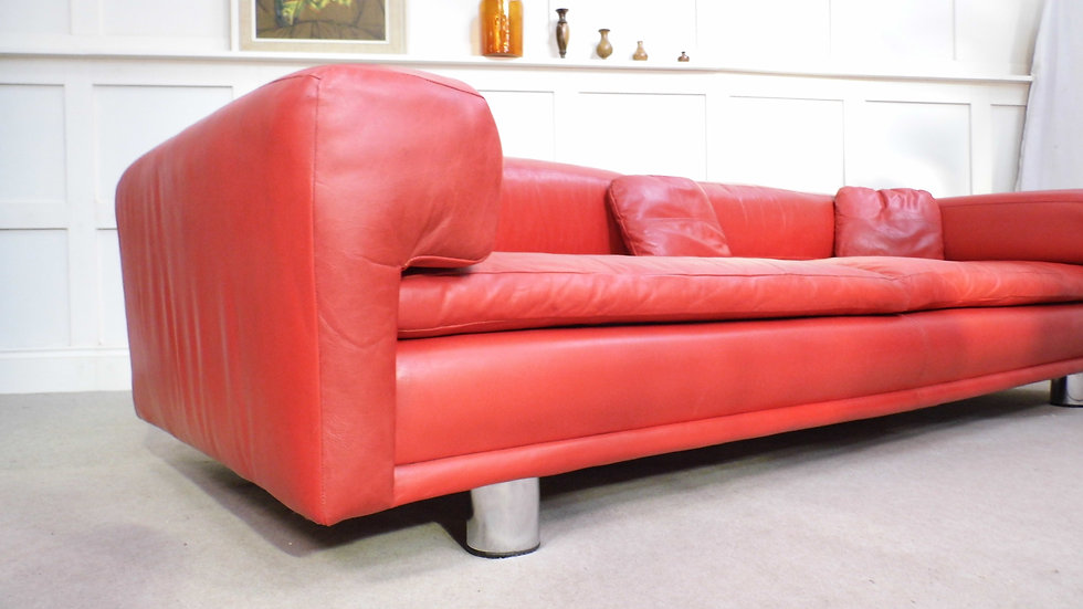 Vintage retro designer red Leather Howard Keith Diplomat sofa 1969 H&K design