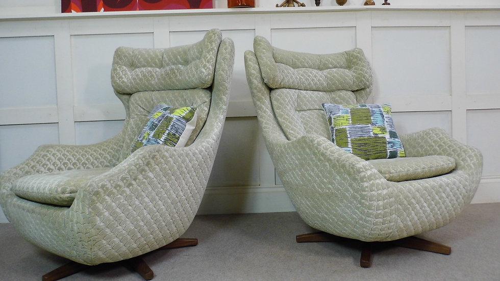 Vintage retro Parker Knoll Statesman swivel egg chairs teak base reupholstered