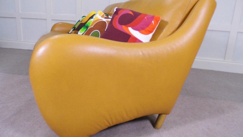 Retro leather sofa vintage danish style deign