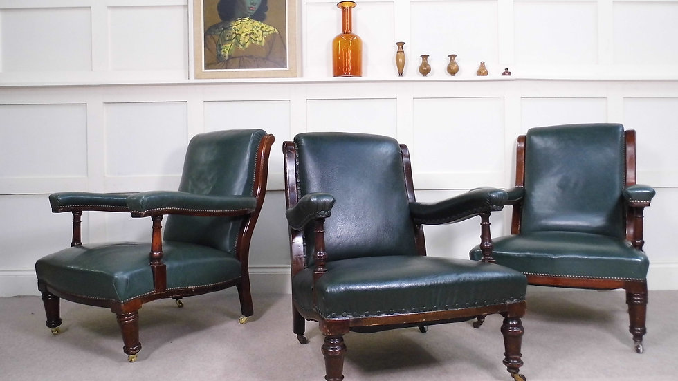 Vintage Antique Howard & Sons style leather and mahogany library armchairs
