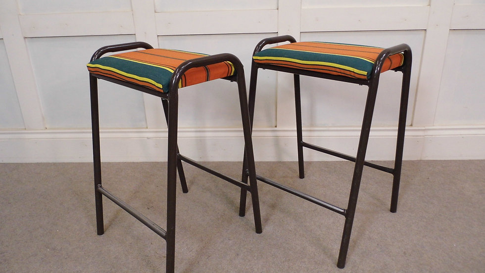 2 X Vintage Retro Stacking Ex School Restyled Kitchen Stools Canvas Seats