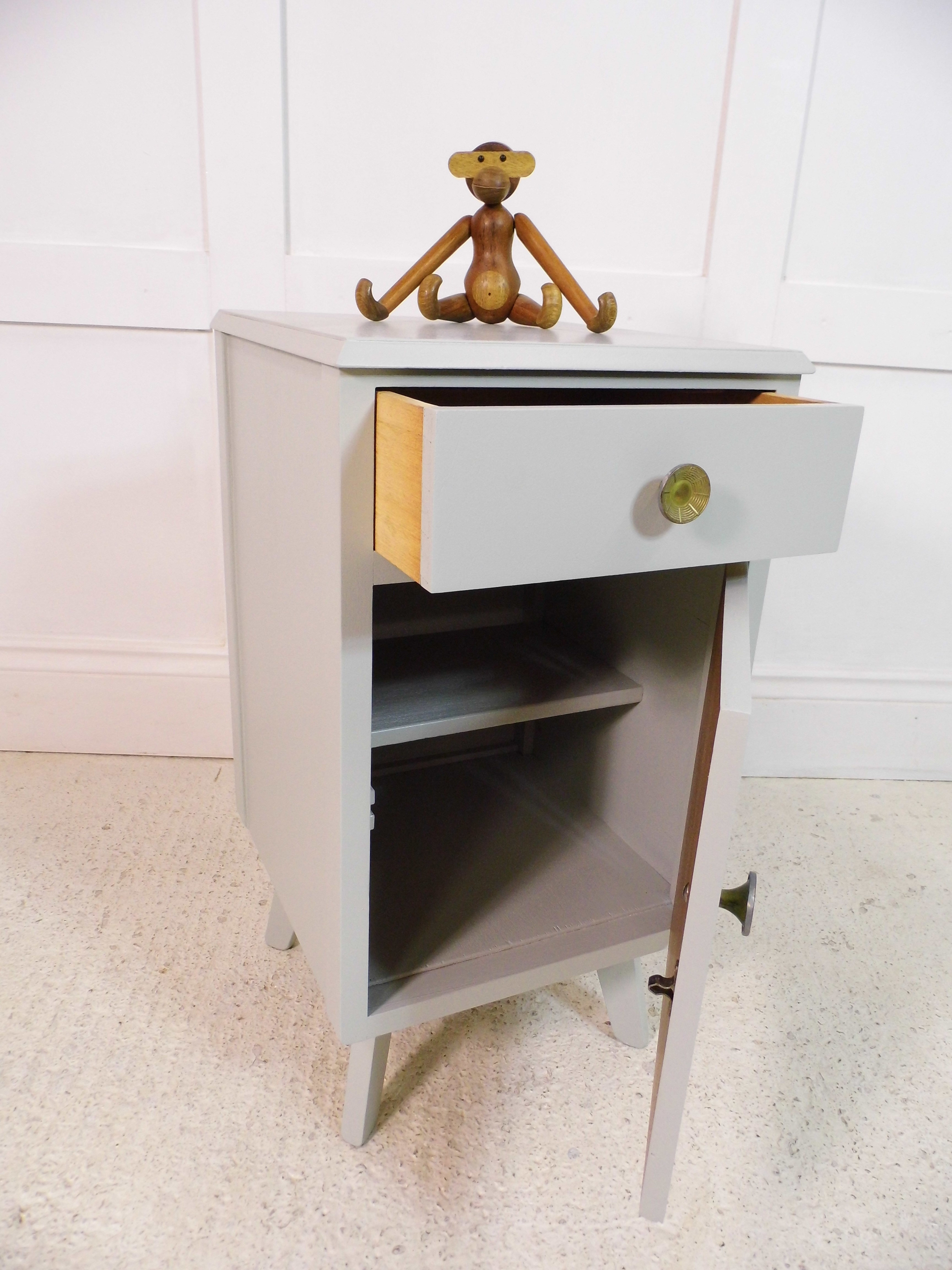 Light Grey Bedside Table: Vintage Retro Lebus Bedside Cabinet Painted Farrow & Ball