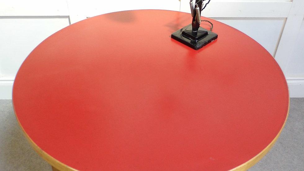 Vintage Retro Aalto Alvar A90 circular dining table bent ply legs lino top