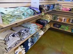 Shelves of shirts