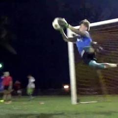 Goalkeeper Brock Hepworth putting in the