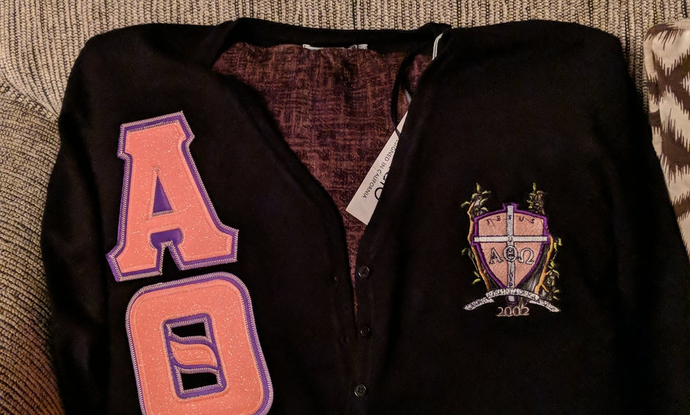 Greek letter cardigan with crest