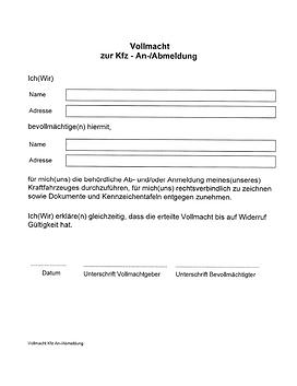 VG Gmunden   Vollmacht KFZ