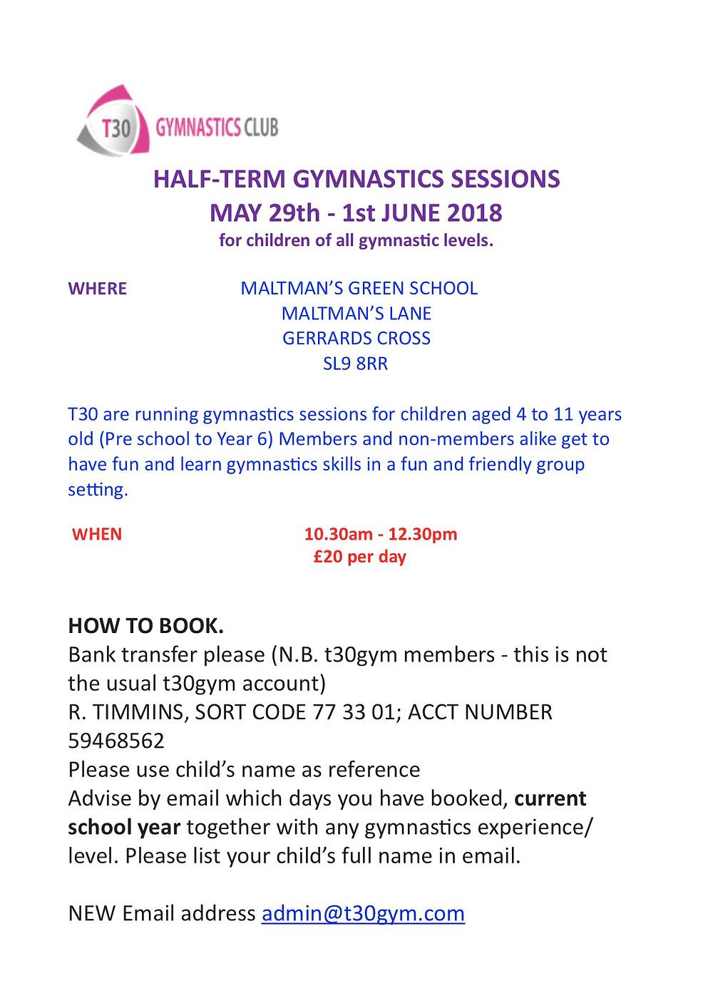 Half term course T30Gym