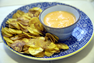 Best VEGAN Mayo EVER! served with homemade plantain chips (Chifles)