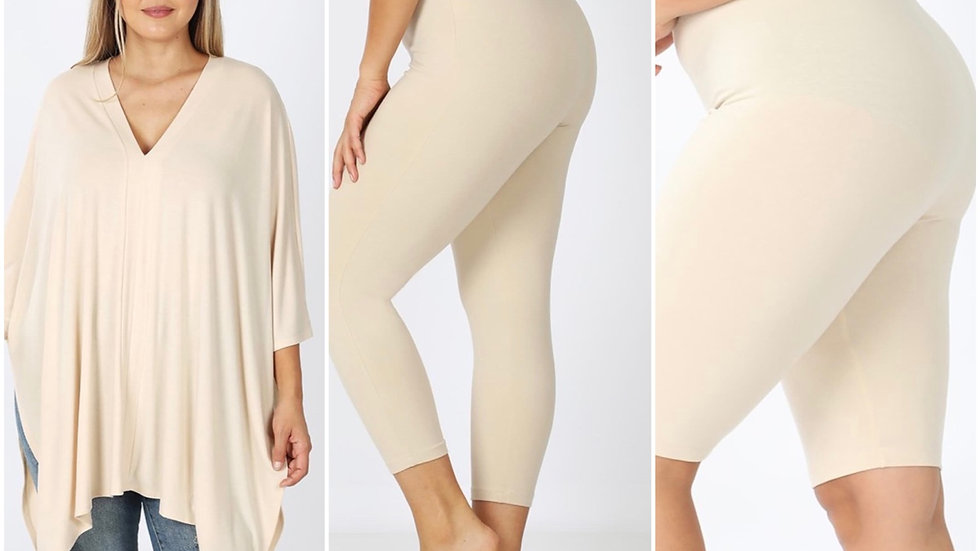 Plus Taupe Set (Shorts or leggings included)